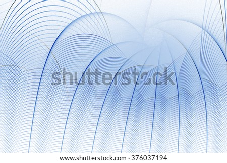 Funky blue abstract woven string arch design on white background  - stock photo