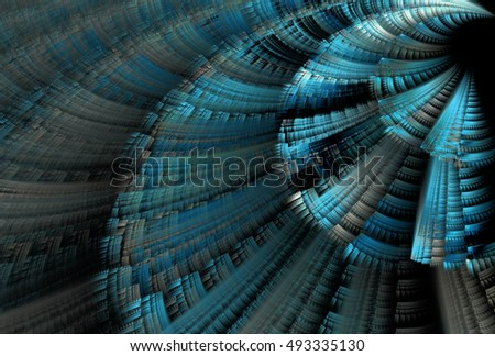 Funky blue / teal abstract textured geometric disc / 'stair' design on black background