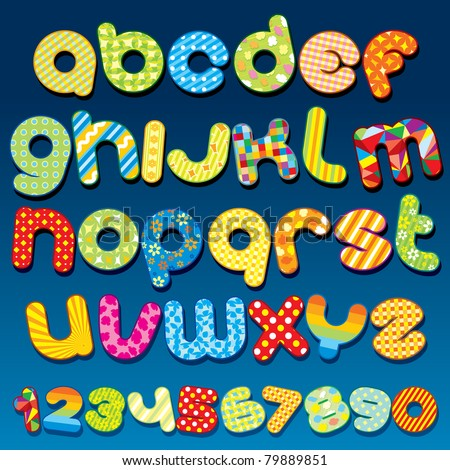 Funky Cartoon font - letter from A to Z, clip art for your design - stock photo