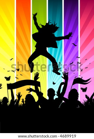 Funky Colourful Crowd - stock photo