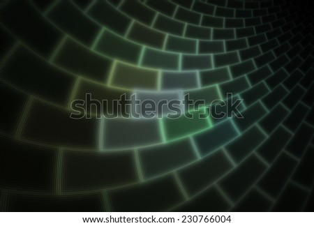 Funky glowing green / lime and white curved tile / brick design on black background  - stock photo