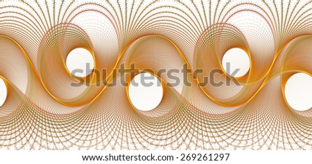 Funky gold / orange woven abstract wave design on white background (tile able)