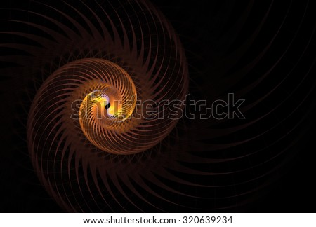 Funky gold / purple abstract spinning spiral design on black background