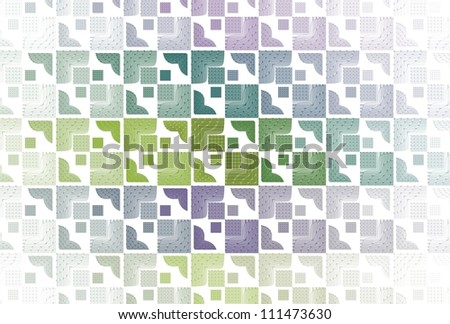 Funky green and purple abstract tiled / mosaic pattern on white background - stock photo