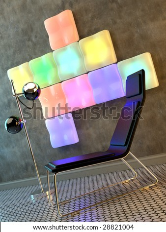 Funky interior with chair, lamp and wall sculpture (3D render) - stock photo