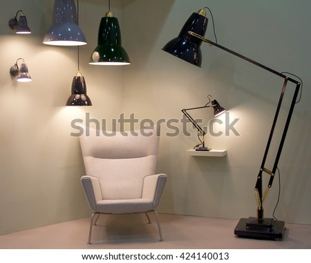 Funky lamps hanging pendant lights chair stock photo royalty free funky lamps hanging pendant lights and chair interior design aloadofball Image collections