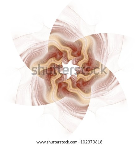 Funky orange, red and copper abstract Star of David on white background - stock photo