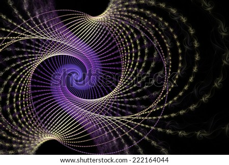 Funky peach / purple abstract woven spiral design on black background - stock photo