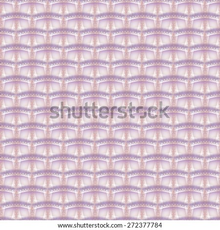 Funky pink and purple abstract brick 'waves' on white background (tile able)  - stock photo
