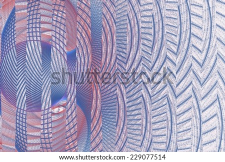 Funky pink / blue / purple abstract woven disc design on white background  - stock photo
