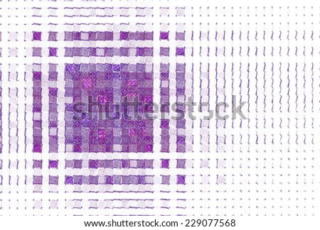 Funky pink / purple abstract woven mosaic square on white background  - stock photo