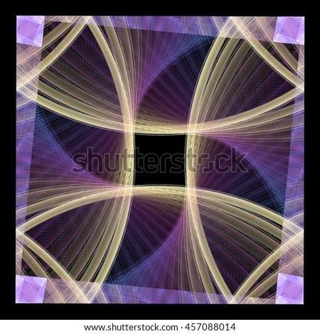 Funky pink, purple and peach abstract flower / fan design on black background - stock photo