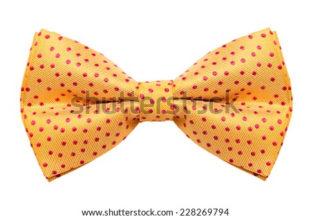 Funky polka dotted bow tie isolated on white background - stock photo
