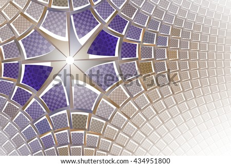 Funky purple and gold / copper abstract 3D star design on white background