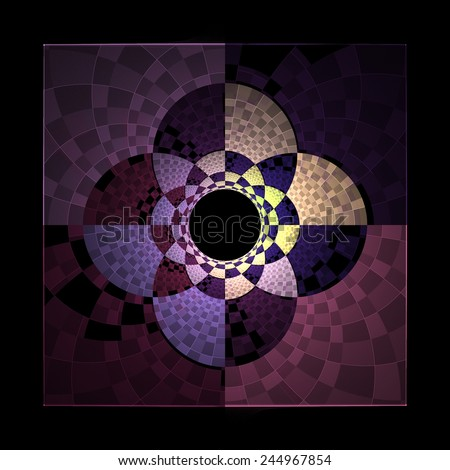Funky purple / pink / peach abstract checkered flower 'tile' on black background - stock photo
