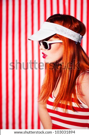 Funky summer portrait - stock photo