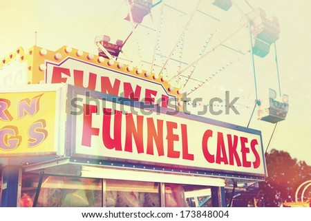 Funnel cake  stand at a fair - stock photo