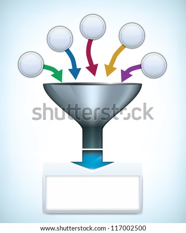 Funnel presentation template with space for different elements - stock photo
