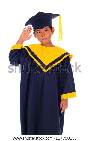 funny action boy proudly wearing his graduation cap and gown isolated on white