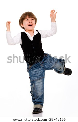 Funny active little boy over white - stock photo