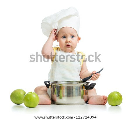 funny adorable baby with green apples isolated on white background - stock photo