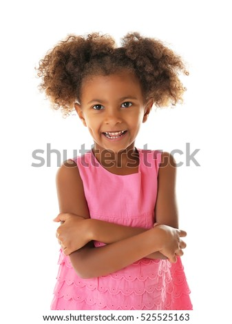 Funny African American girl isolated on white