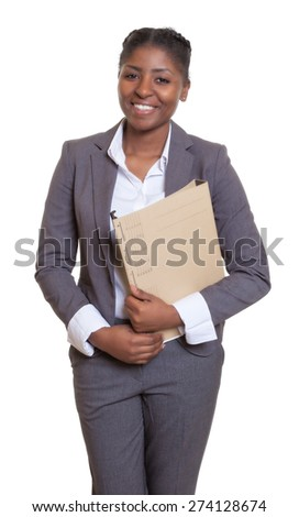 Funny african businesswoman with file - stock photo