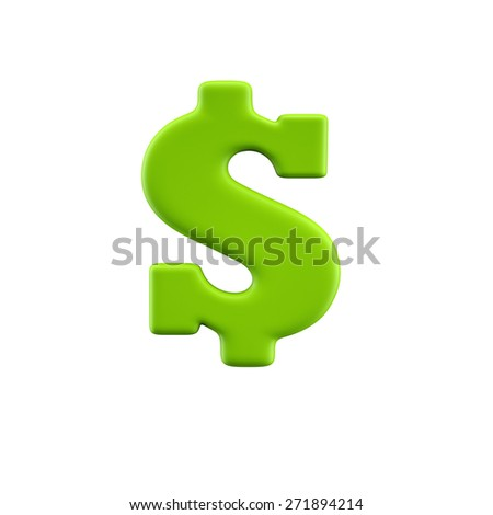 Funny alphabet character. Dollar. Isolated on white background. - stock photo