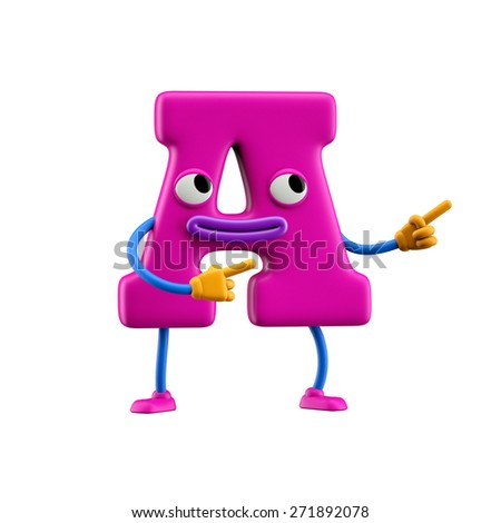 Funny alphabet character. Letter A. Isolated on white background. - stock photo