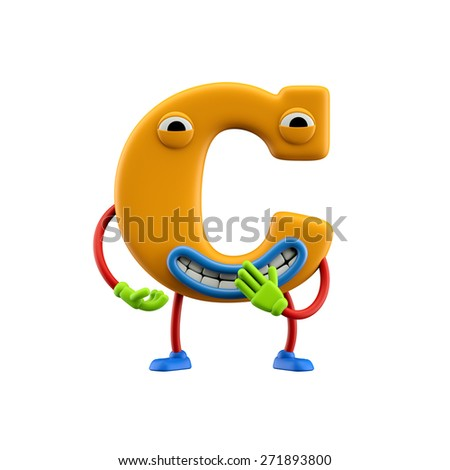 Funny alphabet character. Letter C. Isolated on white background. - stock photo