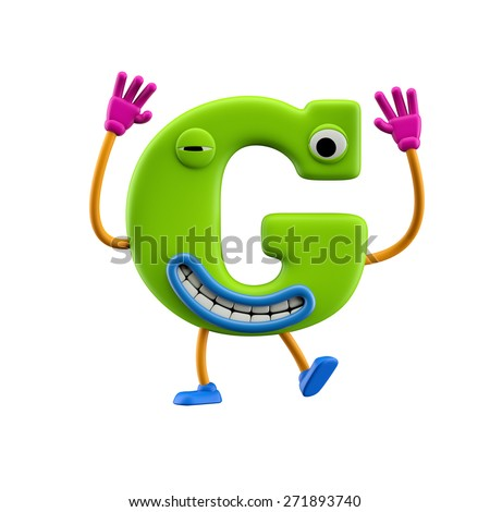 Funny alphabet character. Letter G. Isolated on white background. - stock photo
