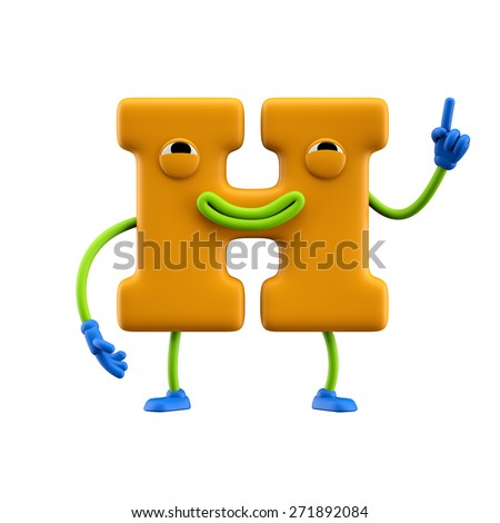 Funny alphabet character. Letter H. Isolated on white background. - stock photo