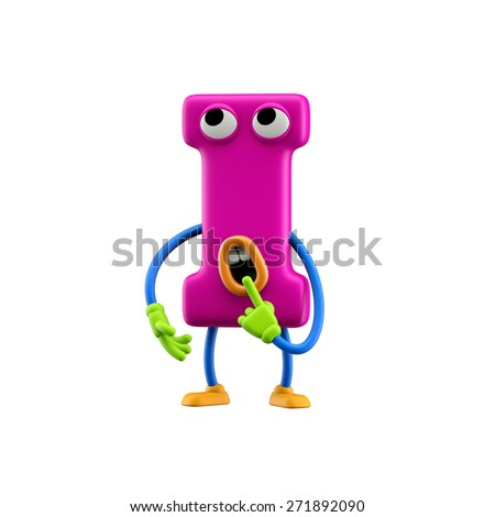 Funny alphabet character. Letter I. Isolated on white background. - stock photo