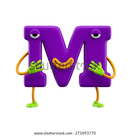 Funny alphabet character. Letter M. Isolated on white background. - stock photo