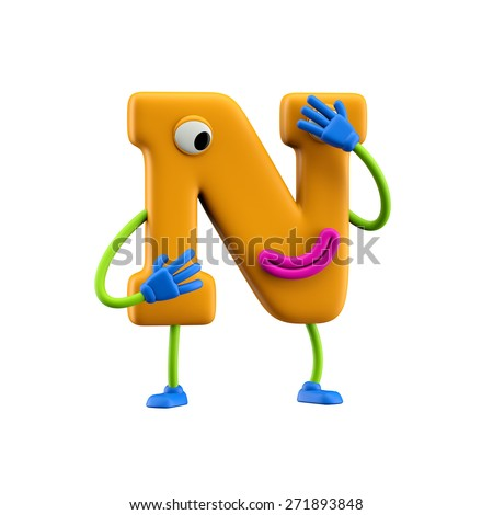 Funny alphabet character. Letter N. Isolated on white background. - stock photo