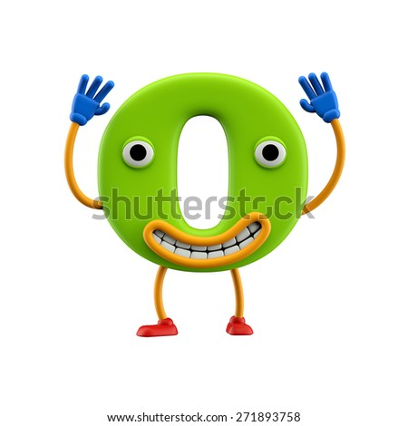 Funny alphabet character. Letter O. Isolated on white background. - stock photo