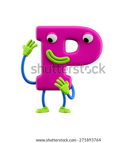 Funny alphabet character. Letter P. Isolated on white background. - stock photo