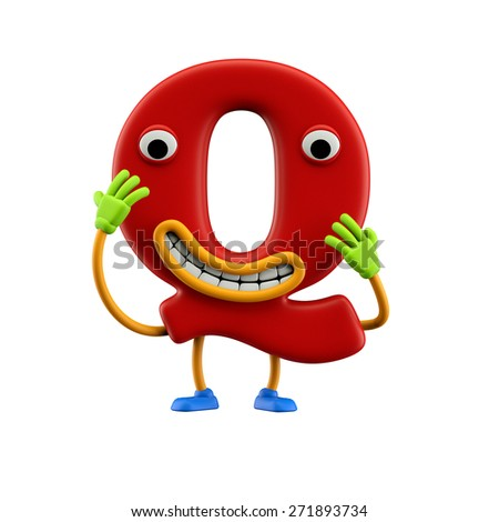 Funny alphabet character. Letter Q. Isolated on white background. - stock photo