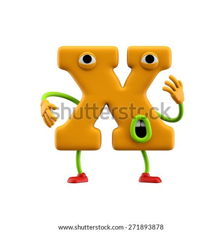 Funny alphabet character. Letter X. Isolated on white background. - stock photo