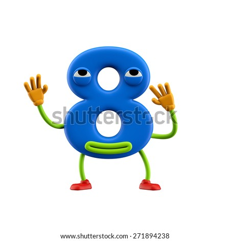 Funny alphabet character. Number 8. Isolated on white background. - stock photo