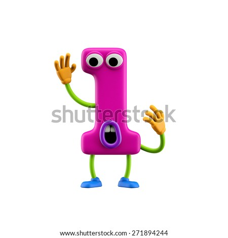 Funny alphabet character. Number 1. Isolated on white background. - stock photo