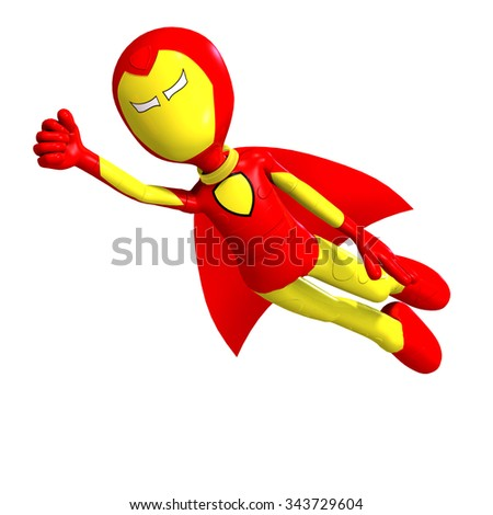 funny and cute cartoon hero with cape. 3D rendering with clipping path and shadow over white