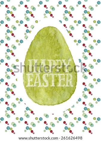Funny and cute Easter greeting card hand-painted with watercolor. Olive green watercolor egg with Happy Easter words on colorful polka-dot background. Real watercolor painting - stock photo