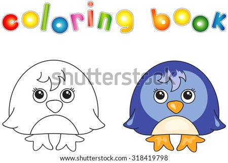 Funny and cute penguin. illustration for children. Coloring book - stock photo