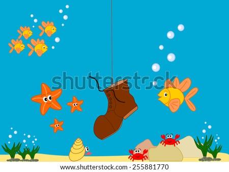 Funny and cute sea life cartoon illustration - stock photo