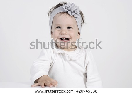 funny and happy baby portrait with clear background