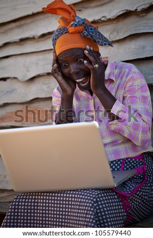 Funny and shocking story displayed on the computer. - stock photo