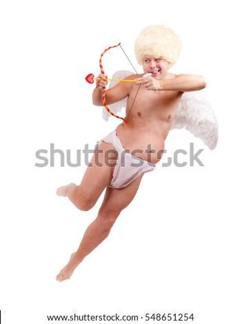 Funny angel with arrow flying isolated on white background