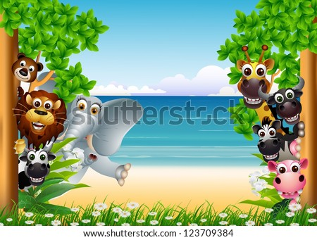 funny animal cartoon collection with beach background - stock photo