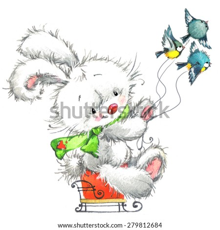 Funny animals and winter holidays background for Christmas and New Year. watercolor illustration